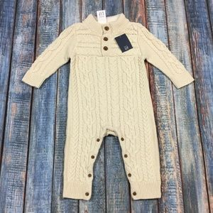 Gap Boys 3 6 12 18 24 Month Cream Sweater Romper